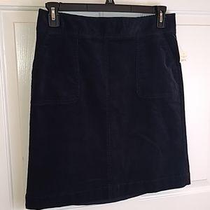 Talbots navy blue corduroy skirt size 8 NWT